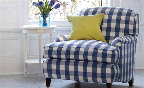 gingham armchair blue and white checked gingham armchair furniture