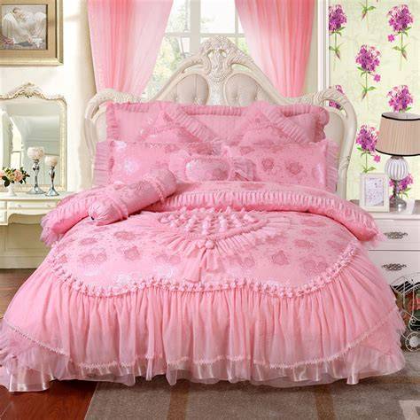pink bed 100 satin jacquard bedding sets silk embroidery wedding bedding set