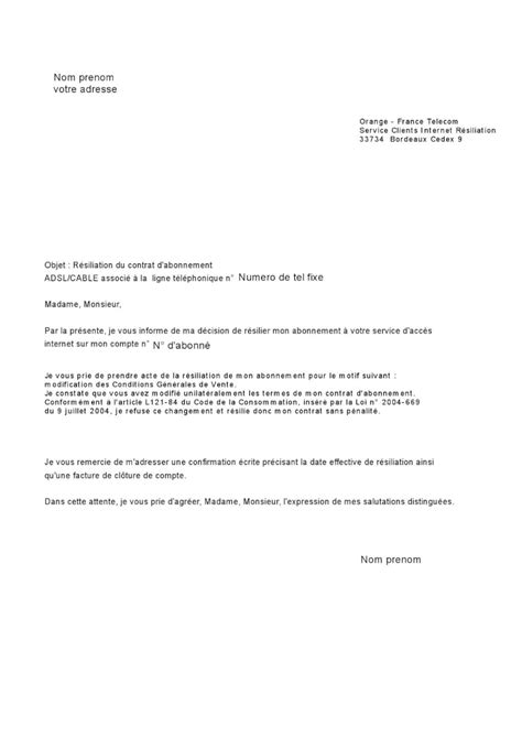 Lettre De Resiliation Orange Et Mobile Exemple Lettre Resiliation Free Mobile Sans Engagement