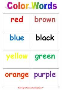 learning new words colors chart word cards book and