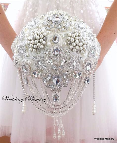 25033 White Pearl Brooch Top brooch bouquet ivory bling pearl and crystals cascading