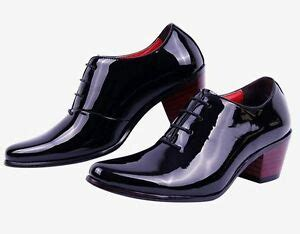1 inch dress shoes 1 96 inch fashion mens high chunky heel casual oxford patent leather dress shoes ebay