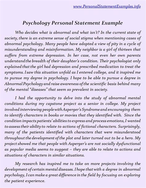 psychology personal statement exles by