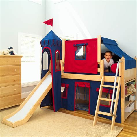 kids beds with slide king s castle bed with slide by maxtrix kids blue red