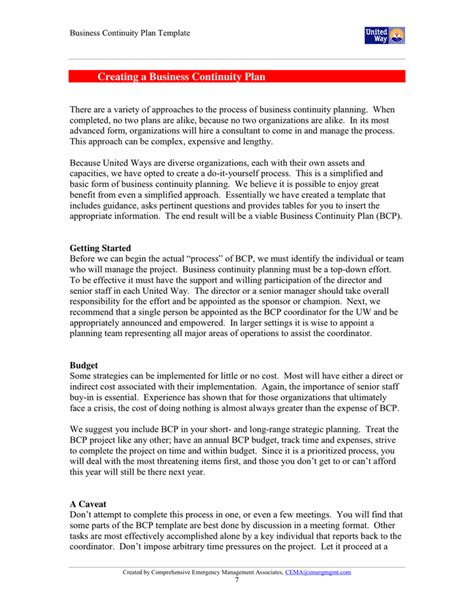 template for business continuity plan business continuity plan template doc