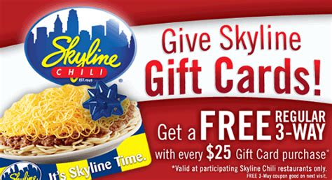 Skyline Gift Card - skyline chili free 3 way wyb 25 gift card savings lifestyle