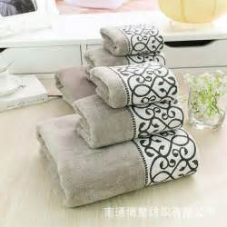 pattern bath towels european elegance pattern print gray cotton towels set