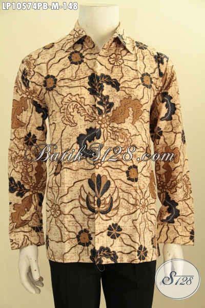 Kemeja Batik Kawung Grompol Printing Lengan Panjang batik kemeja pria lengan panjang elegan motif mewah proses printing cabut pakaian batik pria