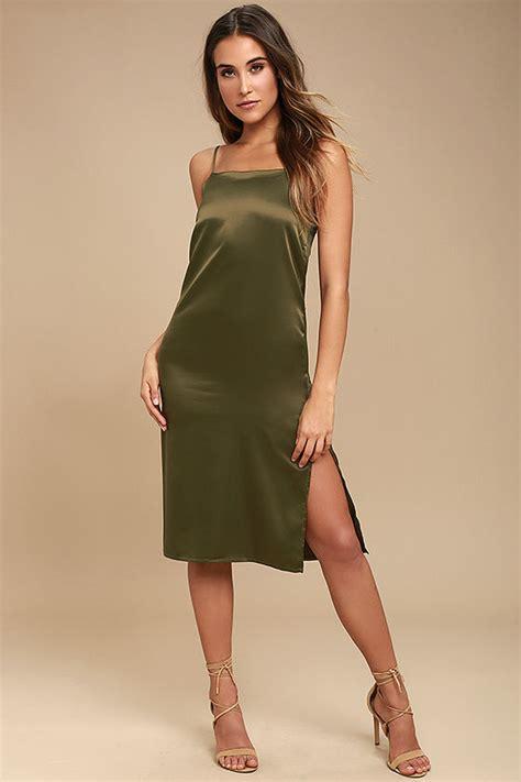 Dress Midi Satin olive green dress satin midi dress midi slip