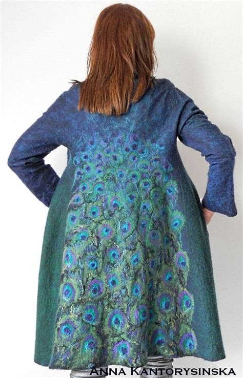 Handmade Coats - nuno felted coat peacock coat handmade felted coat wool