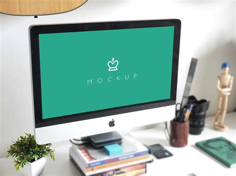 imac on clean desk mockup mockupworld