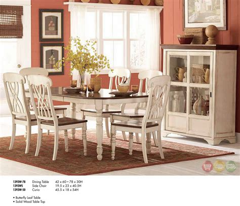 Cottage Dining Room Sets ohana cottage style oval whitewash dining room set
