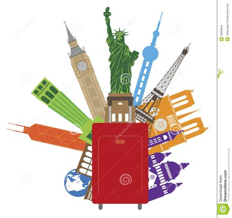 United Airline Baggage by Luggage For World Travel Color Vector Illustration Stock
