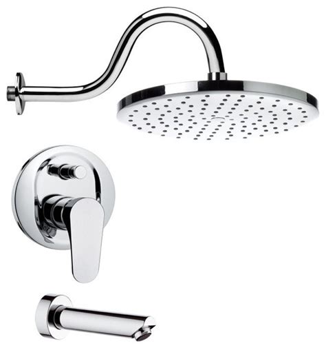 Shower And Sink Faucet Sets Sleek Modern Chrome Tub And Shower Faucet Contemporary