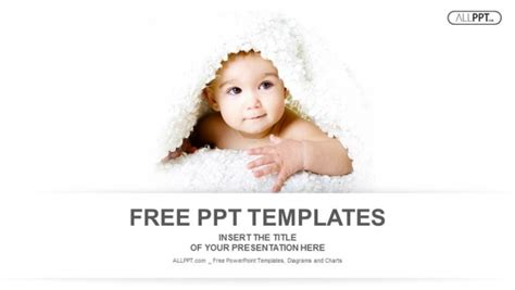 Baby Is Hiding Under The White Blanket Powerpoint Templates And Baby Powerpoint Template Free