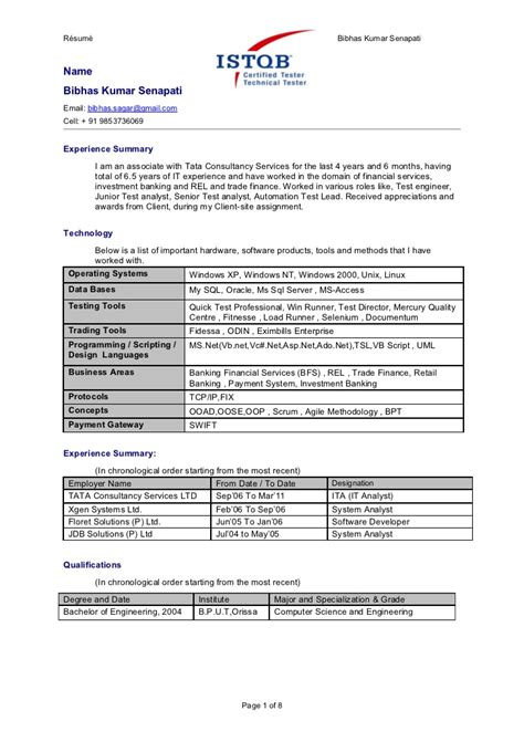 Sample Of Objective In A Resume by Bibhas Automation Testing