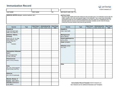 Immunization Card Template Russian by Free Printable Immunization Record Pdf From Vertex42