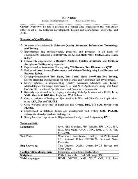 Qa Resume 31 Best Images About Software Quality Assurance On Resume Templates Entry Level And