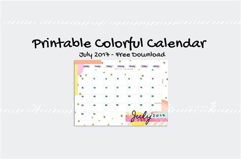 printable time zone calendar july 2017 printable colorful calendar free download