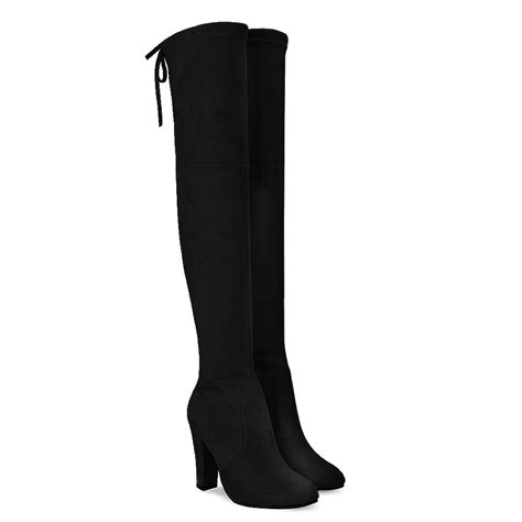 the knee boots black suede black suede heel the knee boots us 61 95 yoins