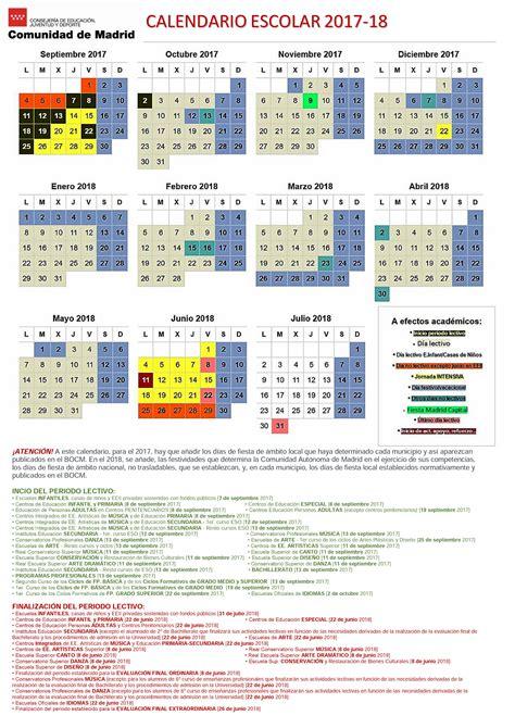 Calendario Escolar Castilla Y 2011 Publicado El Calendario Escolar 2017 2018 C Madrid A