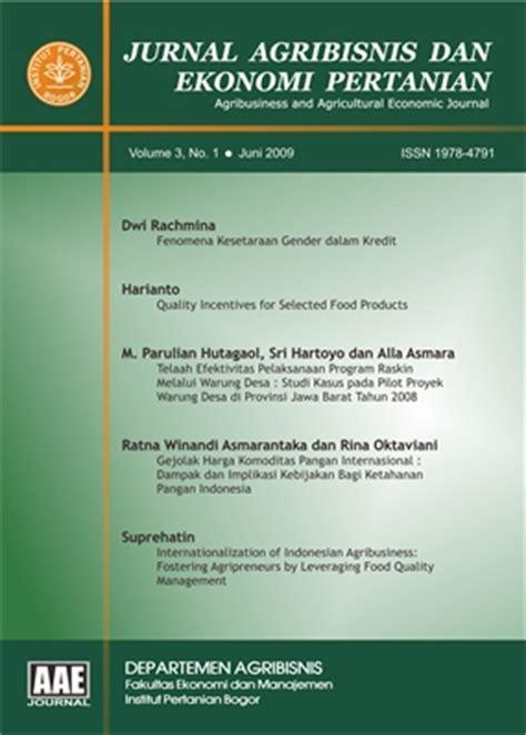 Jurnal Pemikiran Sosial Ekonomi jurnal agribisnis dan ekonomi pertanian aae neliti