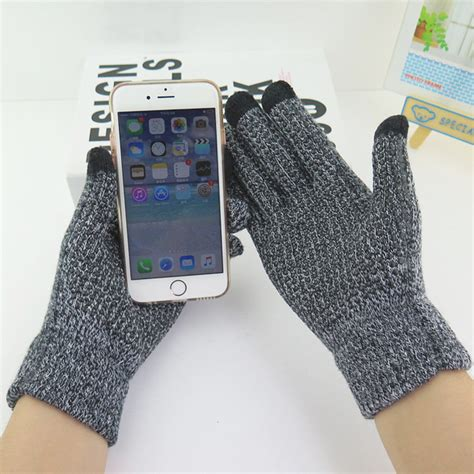sarung tangan rajut touchscreen smartphone tablet gray jakartanotebook