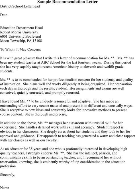 Letter Of Recommendation Exles For Teachers College Recommendation Letter For College Template Learnhowtoloseweight Net