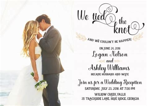 Wedding Announcement For Elopement by Wedding Reception Invitation We The Knot Elopement