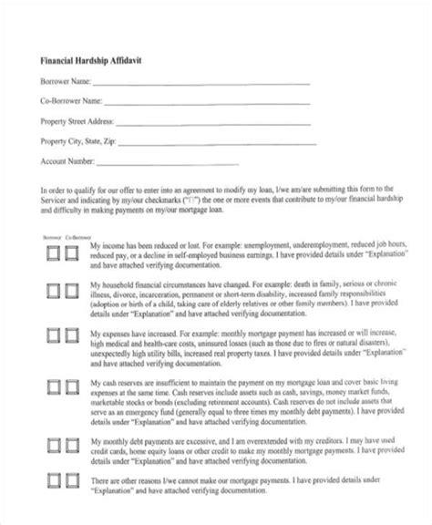 Affidavit Form Template Financial Hardship Application Template