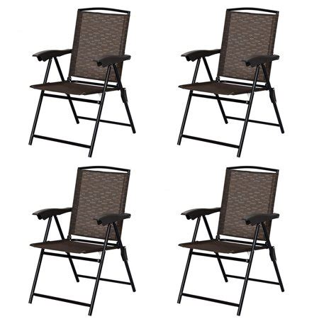 Sling Folding Chairs - costway 4pcs folding sling chairs steel armrest patio