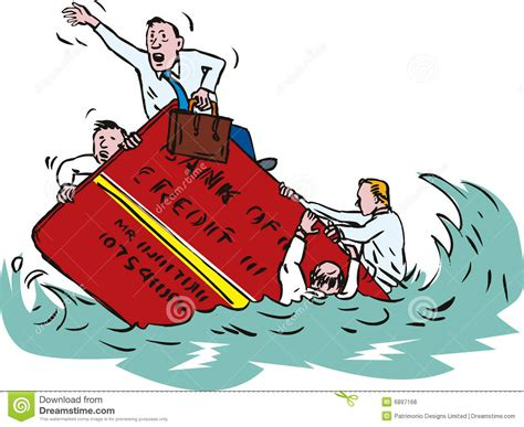broken boat cartoon sinking in credit card debt royalty free stock photos