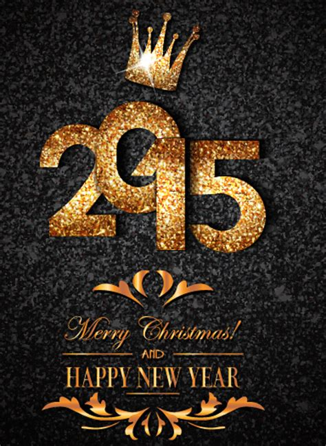 new year golden week 2015 golden crown 2015 new year and background vector