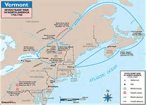 Vermont historical map seven years war in north america
