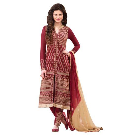 Fashion Maroon bidyut fashion maroon georgette unstitched dress