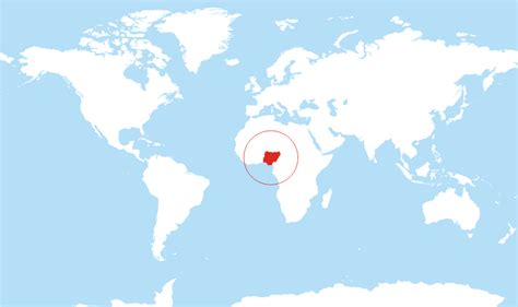 nigeria on a world map where is nigeria located on the world map
