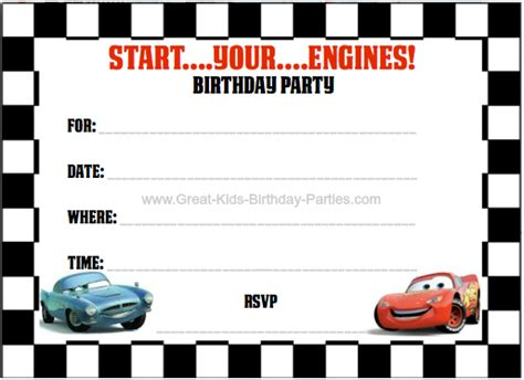 Free Automotive Card Template by Disney Cars Invitations Templates Free Car Interior Design