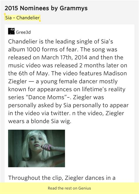Sia Chandelier Meaning Sia Chandelier 2015 Nominees Lyrics Meaning