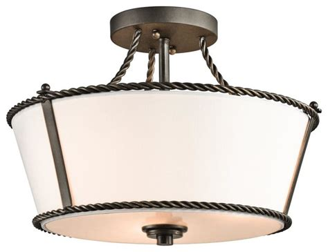 three light olde bronze drum shade semi flush mount