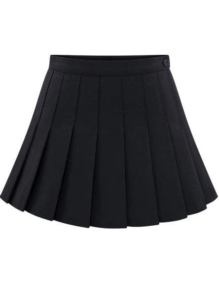 black buttons pleated skirt shein sheinside