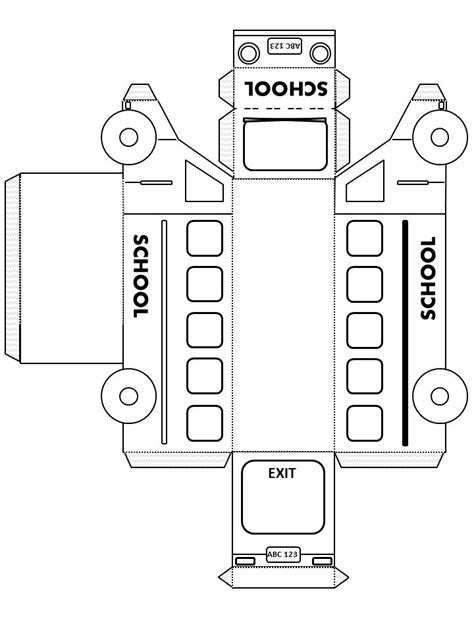 3d school bus template printables pinterest party
