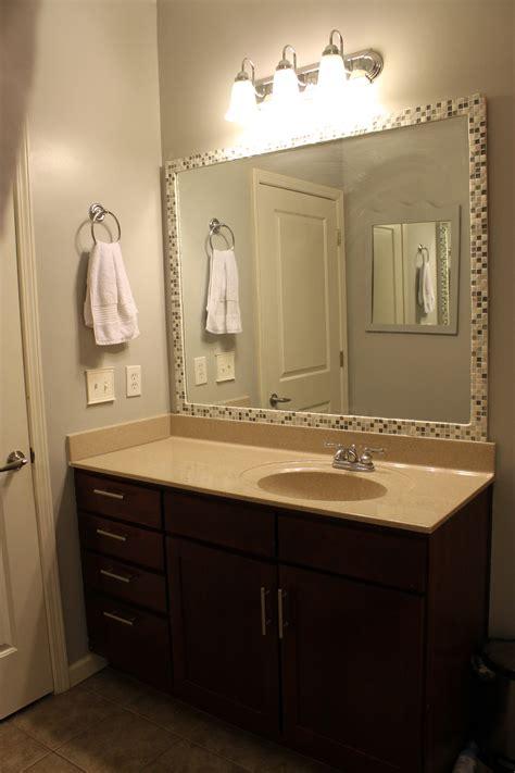 diy bathroom mirror diy tile framed mirror archives charleston crafted