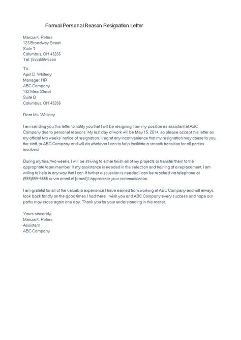 formal personal reason resignation letter templates