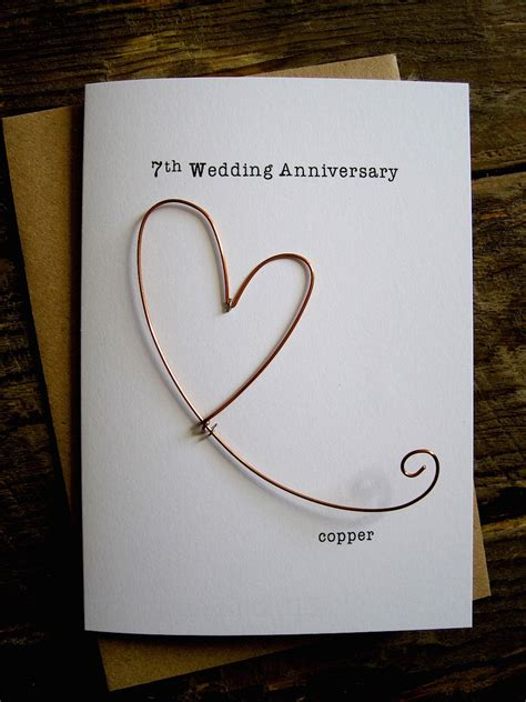 7th wedding anniversary ideas 7th wedding anniversary designer keepsake card copper wire