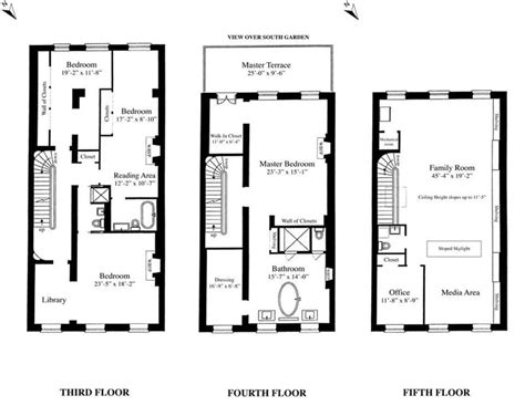 bedroom bath story townhouse house plans 46021 sarah jessica parker s townhouse floorplan sarah jessica