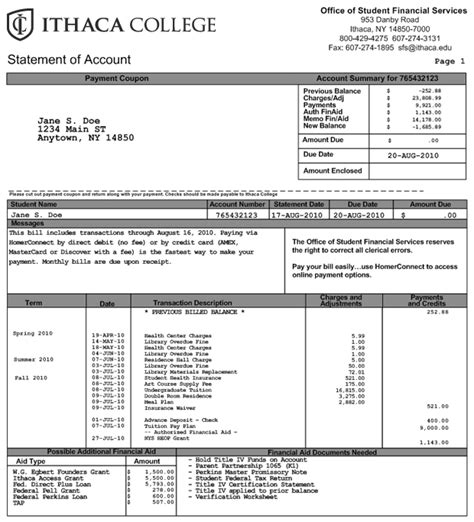 tuition bill template understanding your bill financial aid and billing