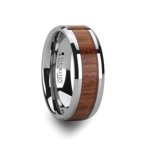 Wedding Bands Hq by Fairbanks Beveled S Tungsten Wedding Band With Wood