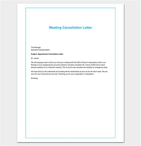 Meeting Cancellation Letter Format Appointment Cancellation Letter 10 Sles Exles Formats