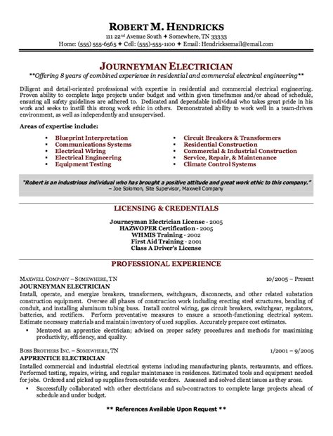 sle resumes for journeyman electricians exle of journeyman electrician resume http