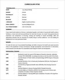 Free Nursing Resume Template by Nursing Cv Template 7 Documents In Pdf Sle Templates